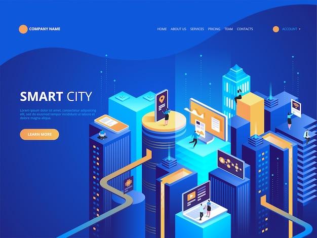 スマートシティ等尺性。インテリジェントな建物。コンピューター ネットワークに接続された街の通り。モノのインターネットのコンセプト。高層ビルが立ち並ぶビジネスセンター。 Premiumベクター