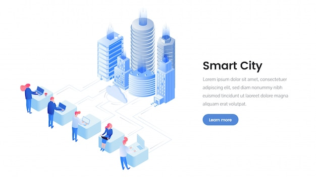 Smart city isometric landing page template