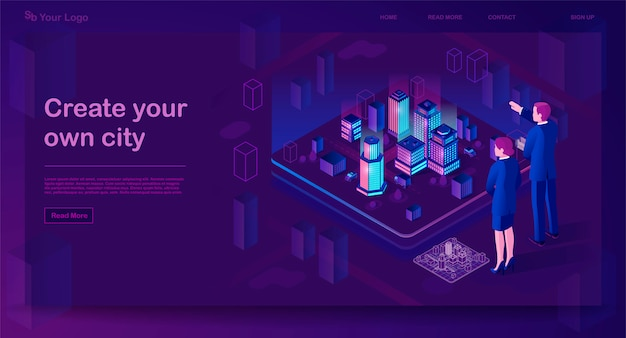 Smart city isometric website template