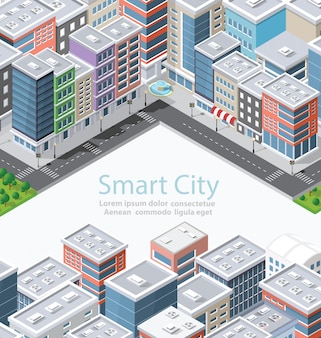 Smart city in isometric