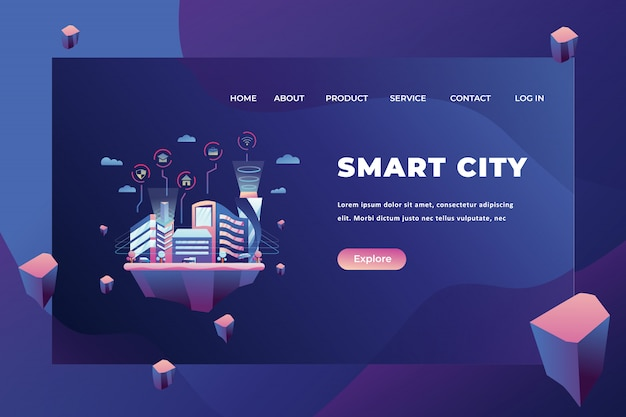 Smart city landing page template