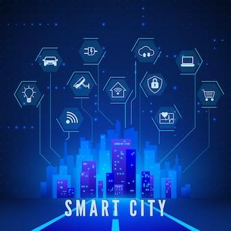 Умный городской пейзаж и набор иконок системного мониторинга и управления