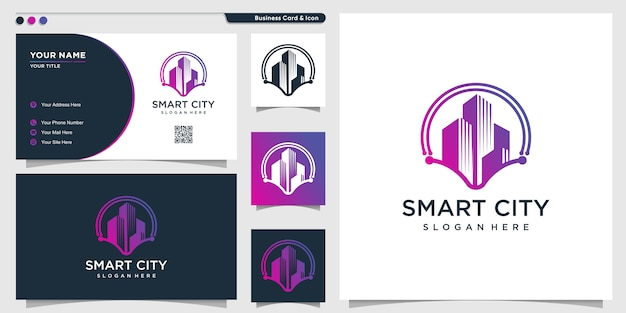 Smart city logo with modern concept and business card design template