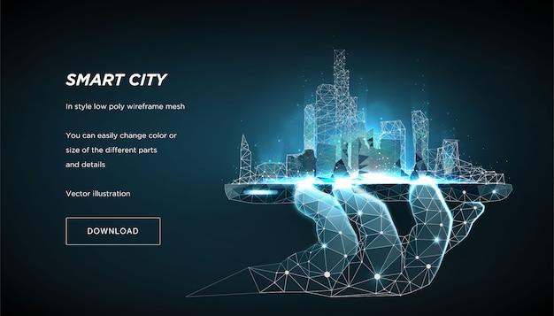 블루 배너 서식 파일에 스마트 시티 낮은 폴 리 와이어 프레임. 도시 미래 추상 또는 대도시.