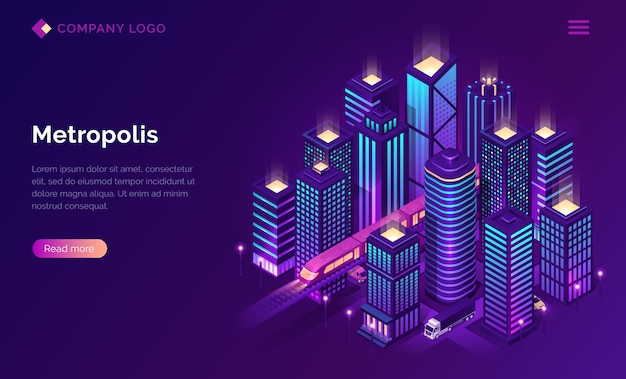 Smart city metropolis isometric landing page.