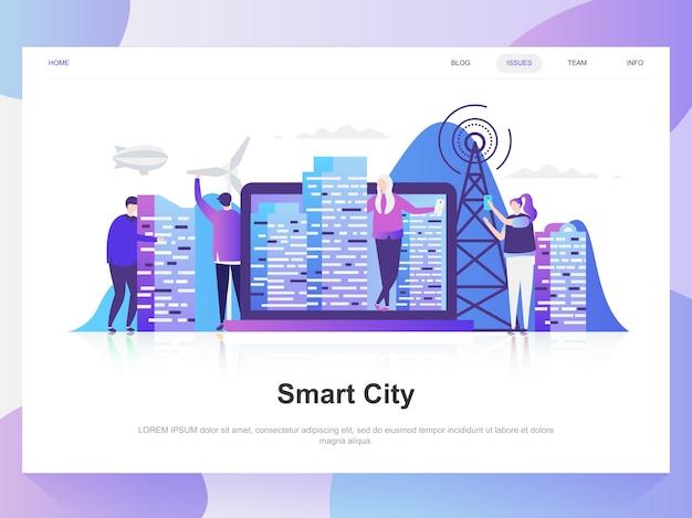 Smart city modern flat design concept.