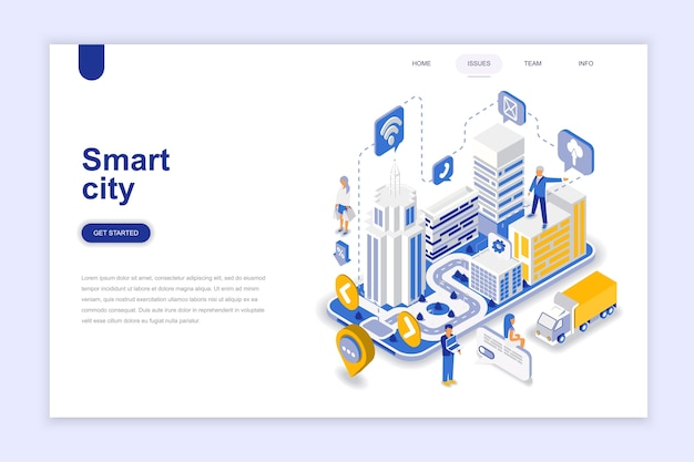 Smart city modern flat design isometric concept.