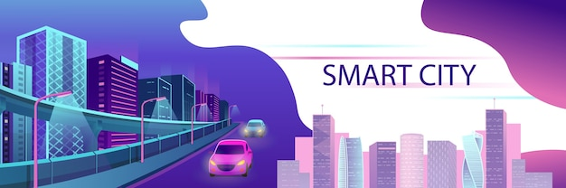 Smart city neon glowing cityscape for website and mobile website.