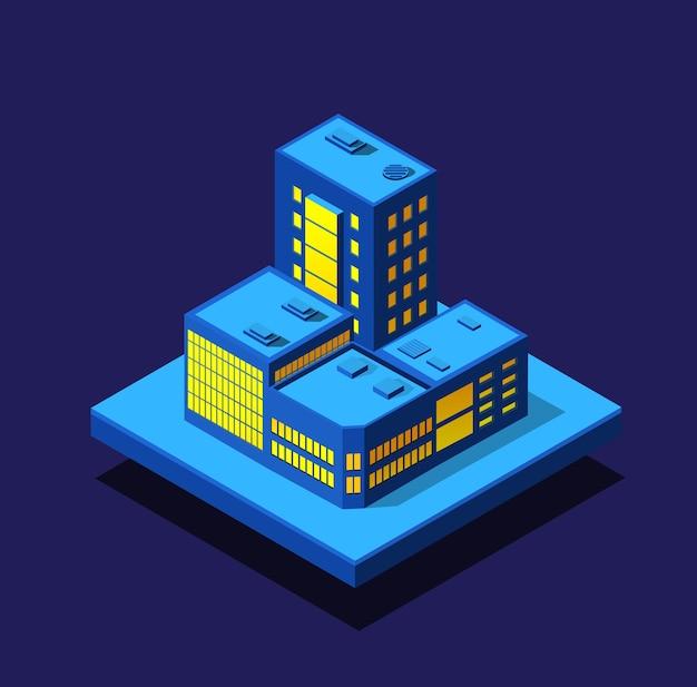 Умный город ночной неоновый ультрафиолетовый набор изометрических зданий домов
