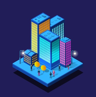 Smart city night neon ultraviolet walking people of isometric buildings