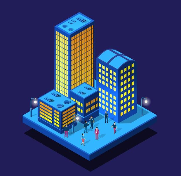 等尺性の建物のスマートシティナイトネオン紫外線歩行者