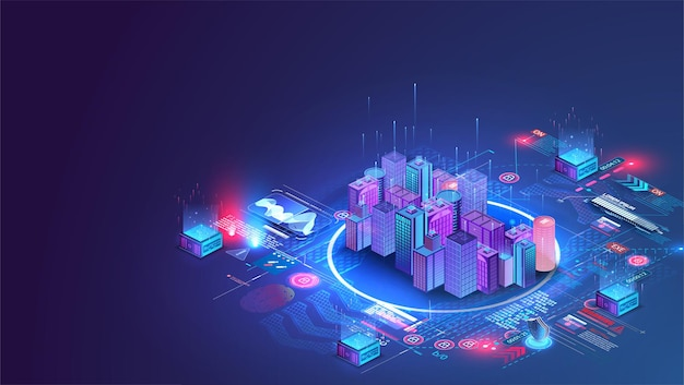 スマートシティまたはインテリジェントな建物のアイソメ図の概念。コンピュータネットワークの図によるビルディングオートメーション。
