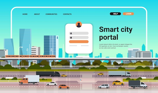Умный городской портал, шаблон целевой страницы веб-сайта, городской фон, горизонтальная копия пространства