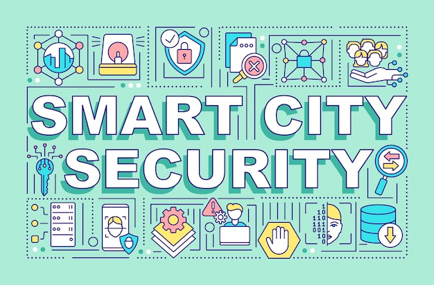 Smart city security word concepts banner. avoid cyberattacks on servers. infographics with linear icons on blue background. isolated creative typography. vector outline color illustration with text