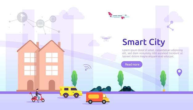 モノのインターネットネットワークと拡張現実感を持つスマートシティサービスのコンセプト。建物、高層ビル、輸送交通バナーのある都市景観
