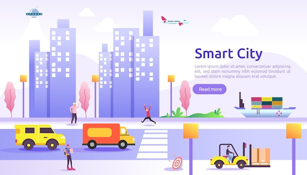 Smart city services concept with internet of things networks and augmented reality. urban landscape with buildings, skyscrapers, transport traffic banner