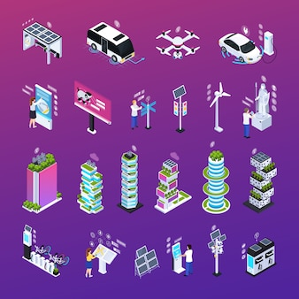 Smart city set with technology, isometric icons isolated vector illustration