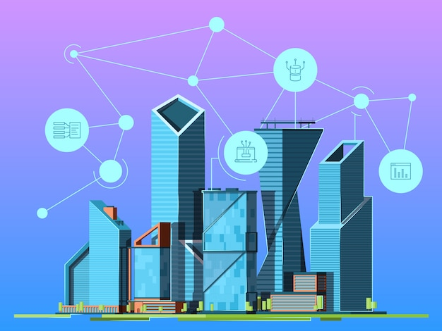 Smart city. skyscrapers in urban landscape high technology environment wireless cityscape background picture