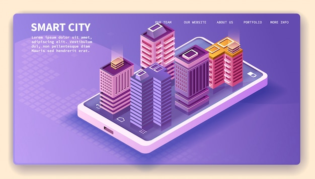 Smart city, smartphone and isometric buildings, landing page vector design.