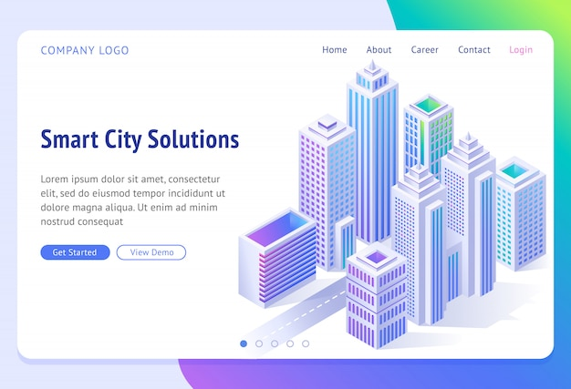 Smart city solutions banner. isometric futuristic town with skyscrapers,