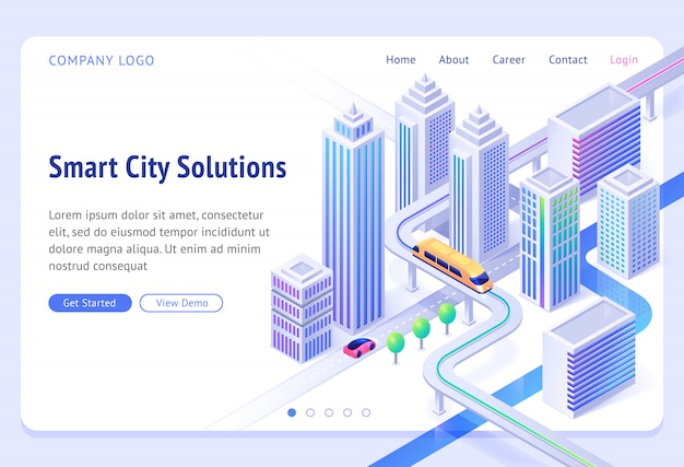 Smart city solutions banner. sustainable development, urban infrastructure innovation. landing page with isometric illustration of modern town with skyscrapers, monorail train and car road