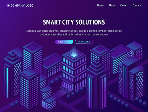 Smart city solutions isometric landing web page