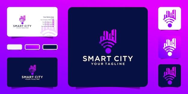 スマートシティテックロゴベクトル。ロゴコンセプトシティwifiテンプレートと名刺