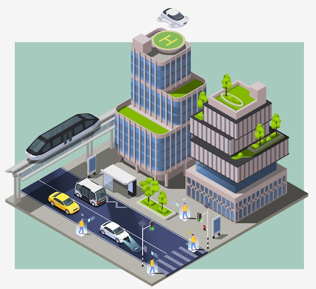 Smart city technologies isometric composition with image of city block with remote vehicles buildings and people illustration