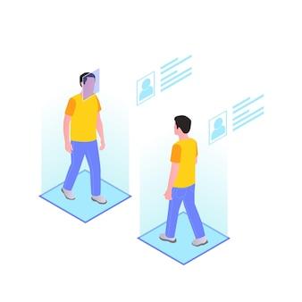 歩く男性とホログラフィックプロファイルを備えたスマートシティテクノロジーのアイソメトリック構成