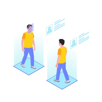 Smart city technologies isometric composition with walking men and holographic profiles Premium Vector