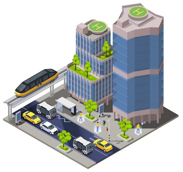 Smart city technologies isometric illustration