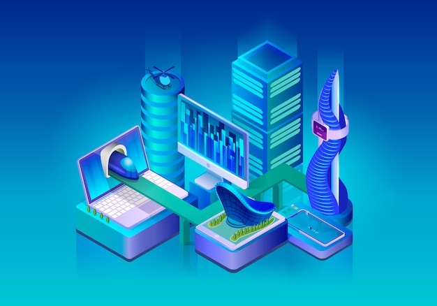 Smart city technologies isometric vector concept