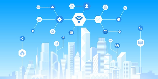Smart city technology flat vector illustration. internet of things, wireless internet network, connectivity concept. urban cityscape, skyline and web icons. futuristic infrastructure innovations