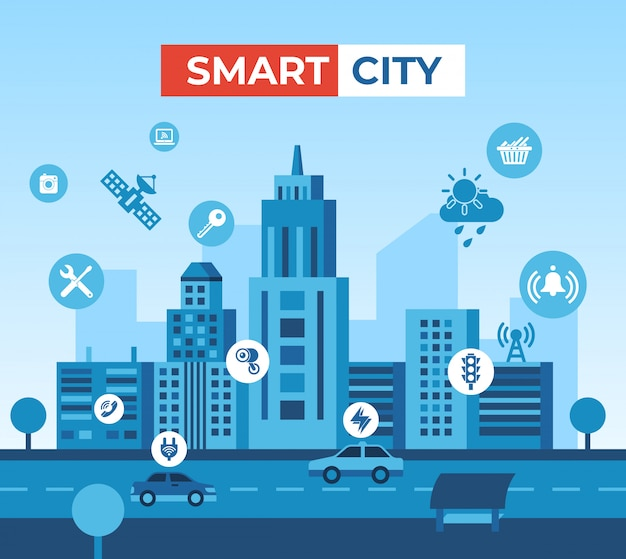 Smart city technology illustration and elements