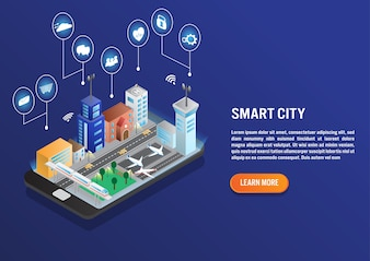 Smart city technology in isometric vector design