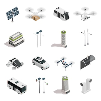 Smart city technology isometric elements set