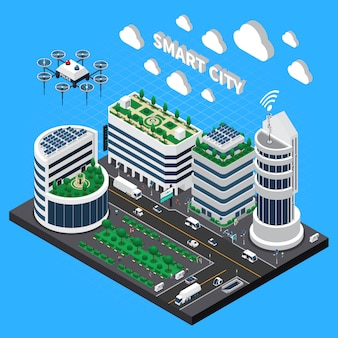 Smart city technology isometric illustration with transport and clean city symbols