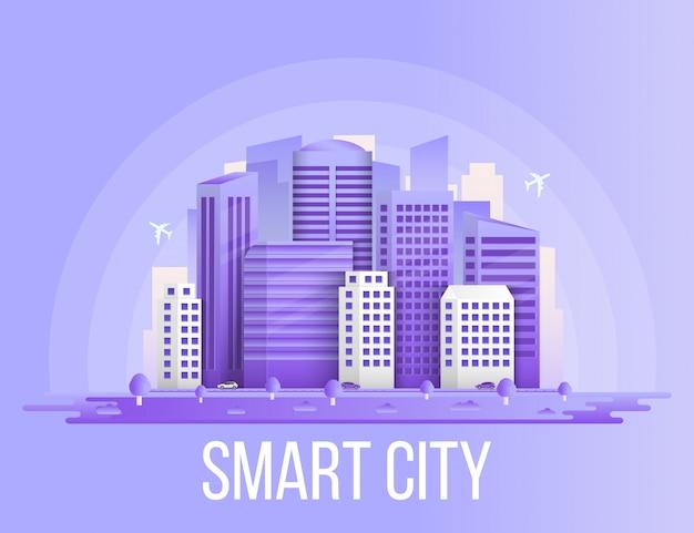 Smart city urban landscape buildings background.