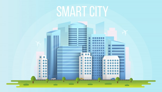 Smart city urban landscape buildings background.