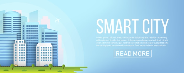 Smart city urban landscape buildings.