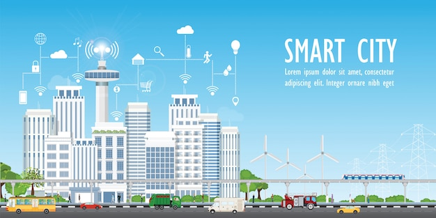 Smart city on urban landscape Premium Vector