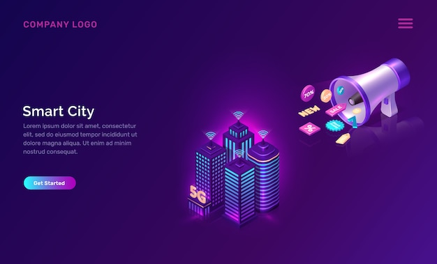 Smart city, wireless network technology web template