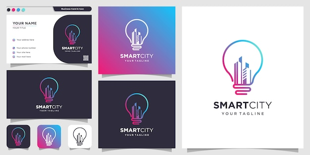 Smart city with creative style and business card design template, city, smart, creative