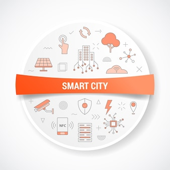 Smart city with icon concept with round or circle shape