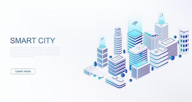 Умный город с интеллектуальными зданиями, подключенными к компьютерной сети веб-шаблон