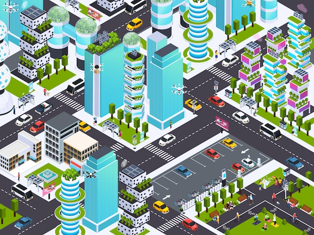 Smart city with modern technology, isometric vector illustration
