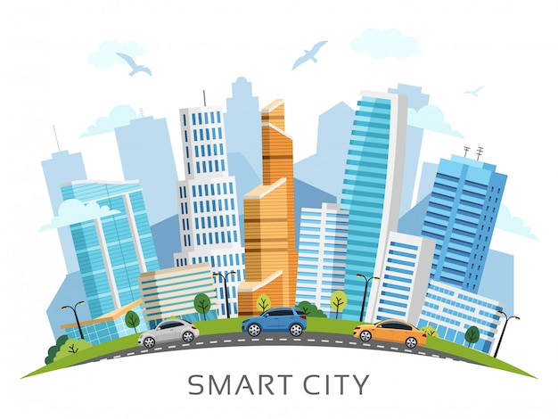 Smart city with skyscrapers background