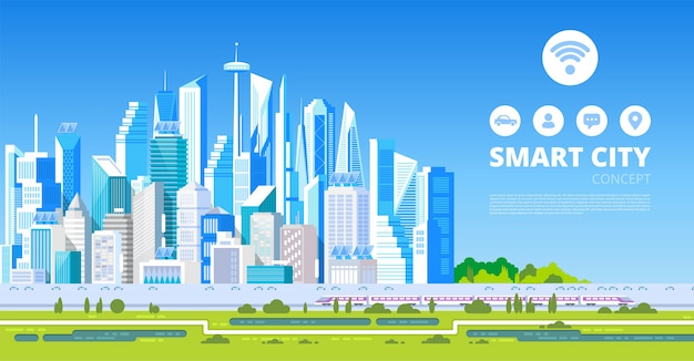 Smart city with smart services icons