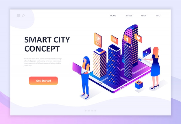 Современный плоский дизайн изометрической концепции технологии smart city
