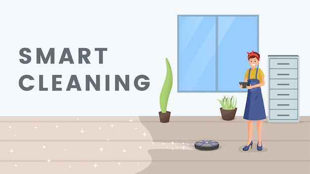Smart cleaning flat  banner template